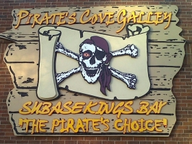 Sandblasted Sign Pirates Cove Galley